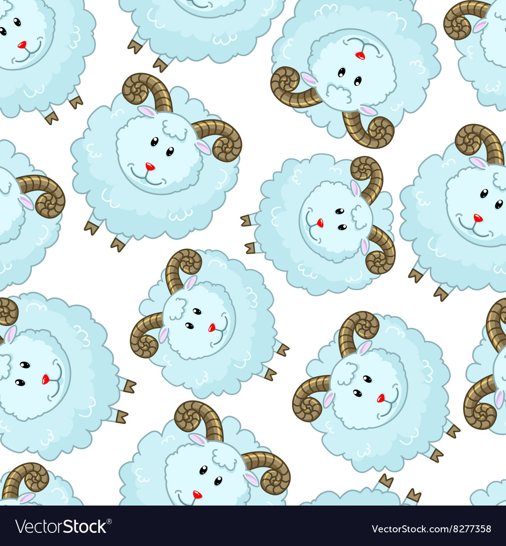 Seamless pattern with cartoon sheep