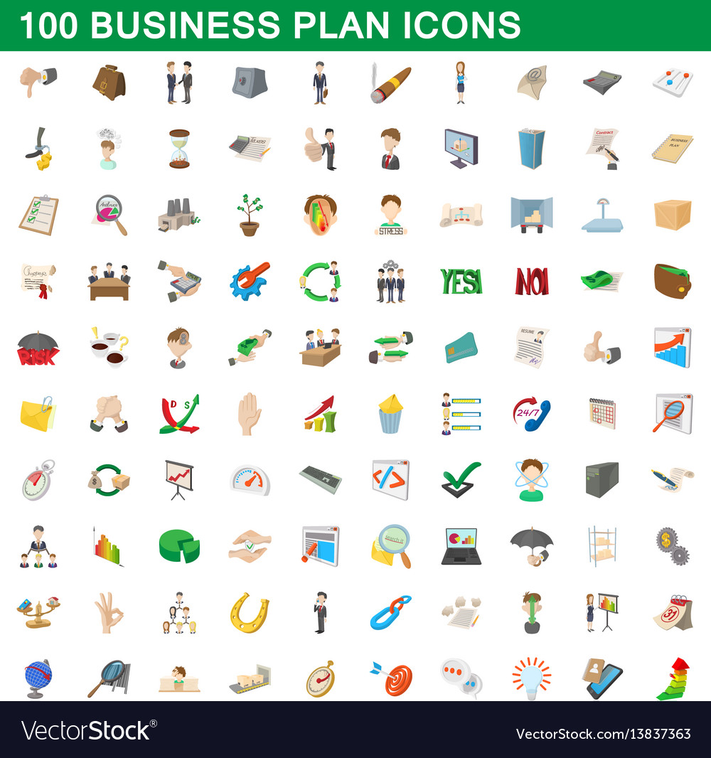 100 business plan icons set cartoon style