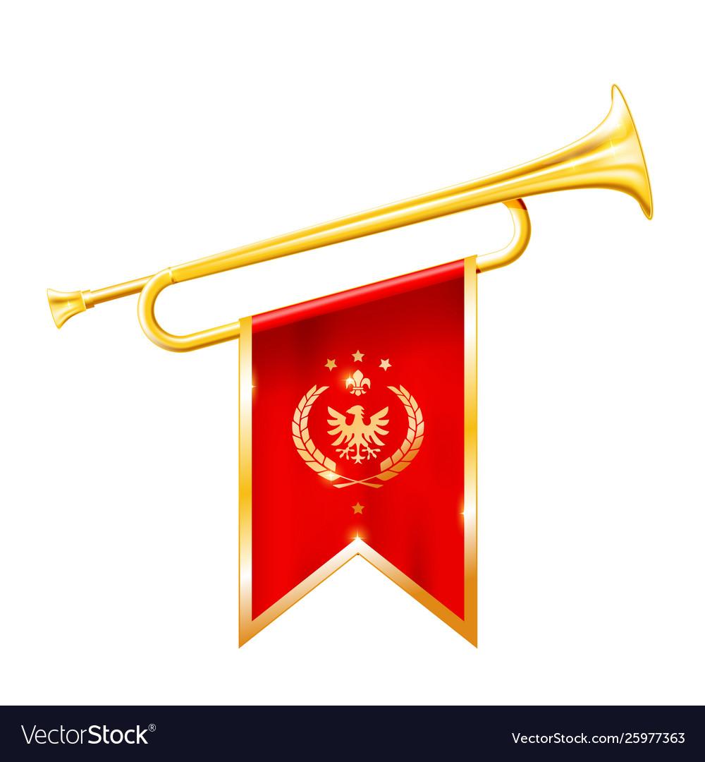 Antique royal horn - trumpet with triumphant flag
