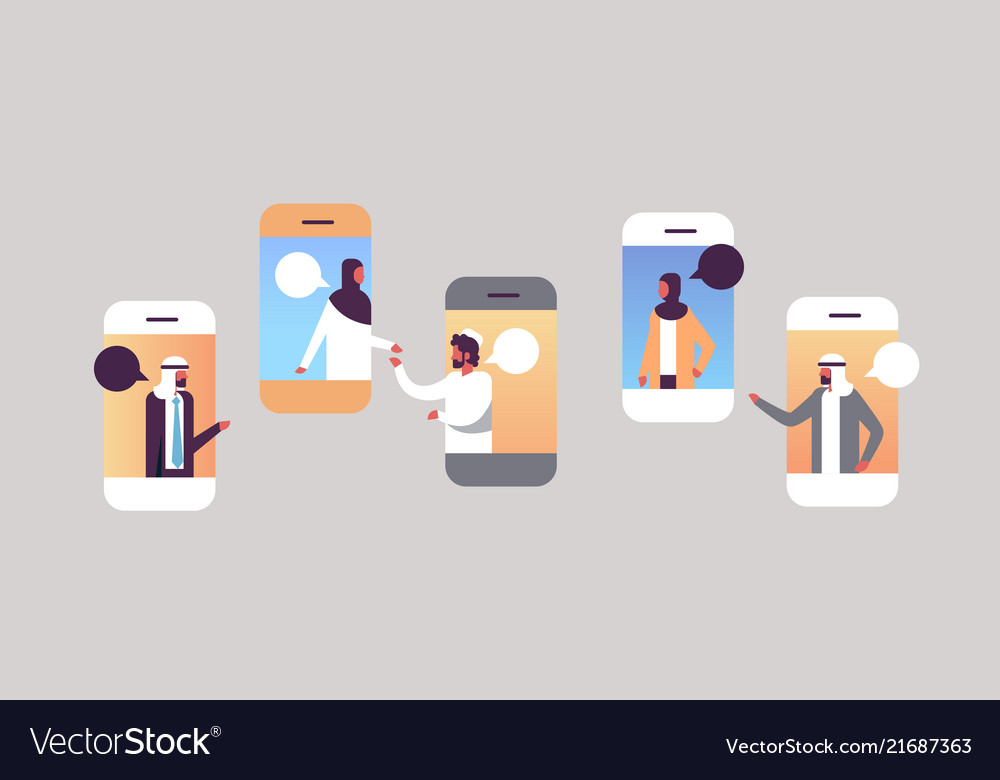 Arabic people smartphone chat bubbles mobile