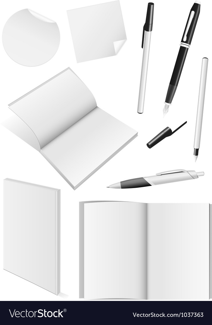 Blank writing tools and book mock-ups vector image