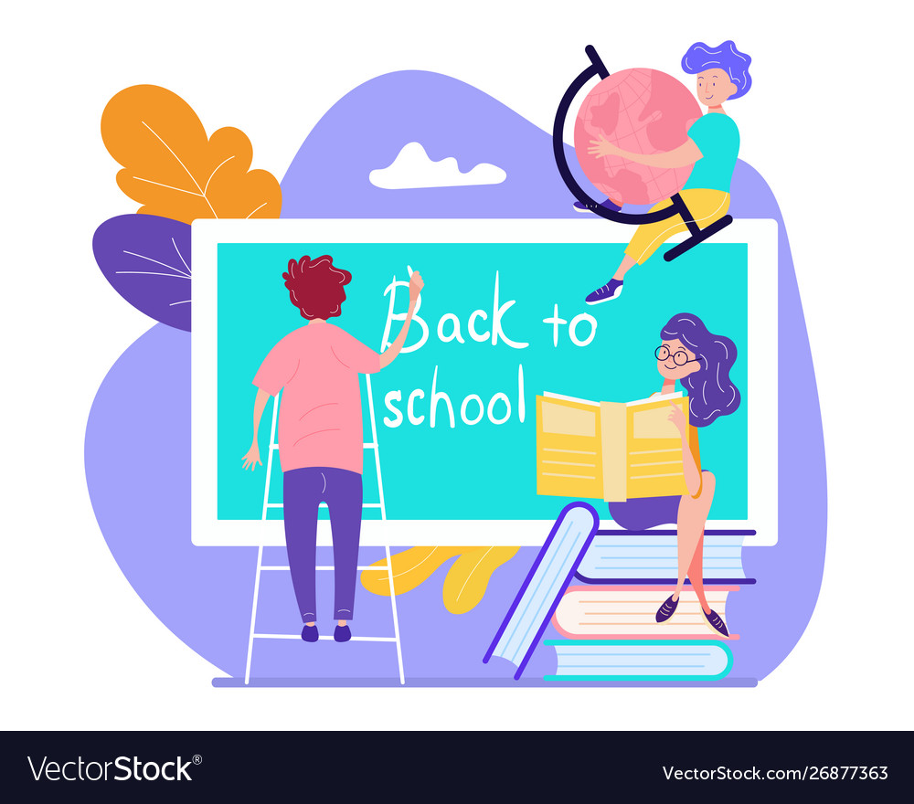 Boy stand on ladder writing on blackboard back to