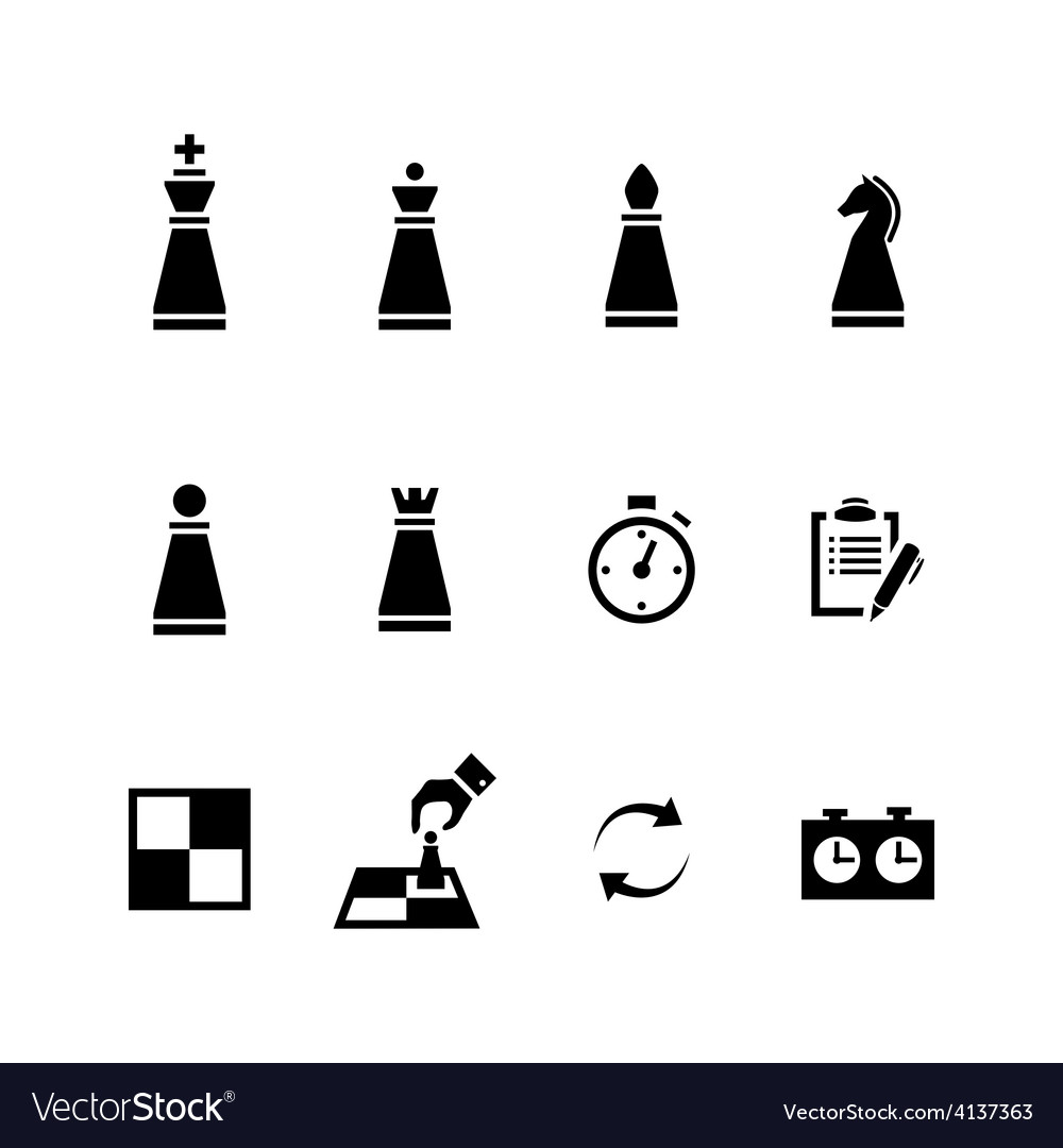 Chess pieces Black icons set