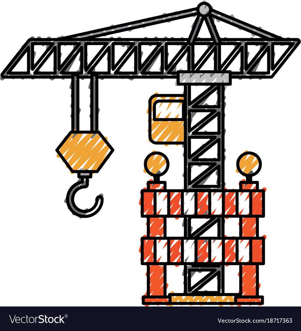 Construction tower crane barricade caution vector image