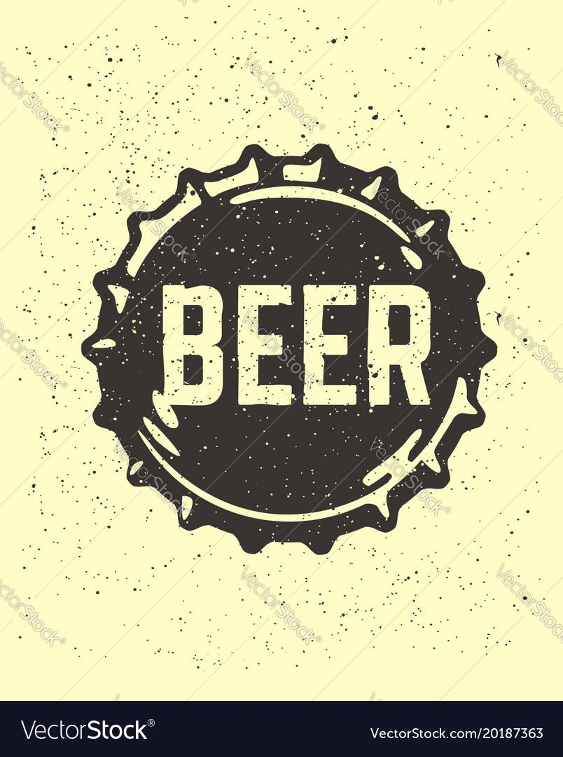 Craft beer text emblem on bottle cap vector image