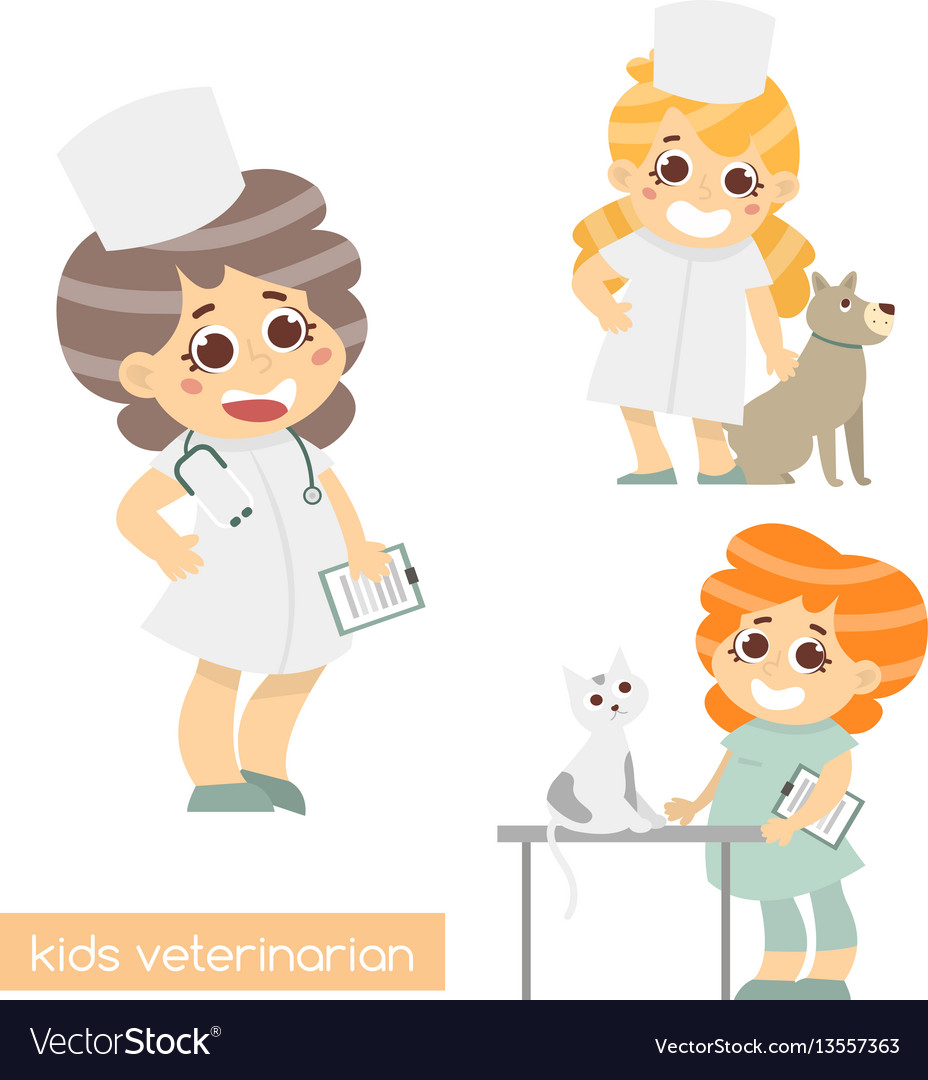 Cute kids vets isolated set of 3 characters of