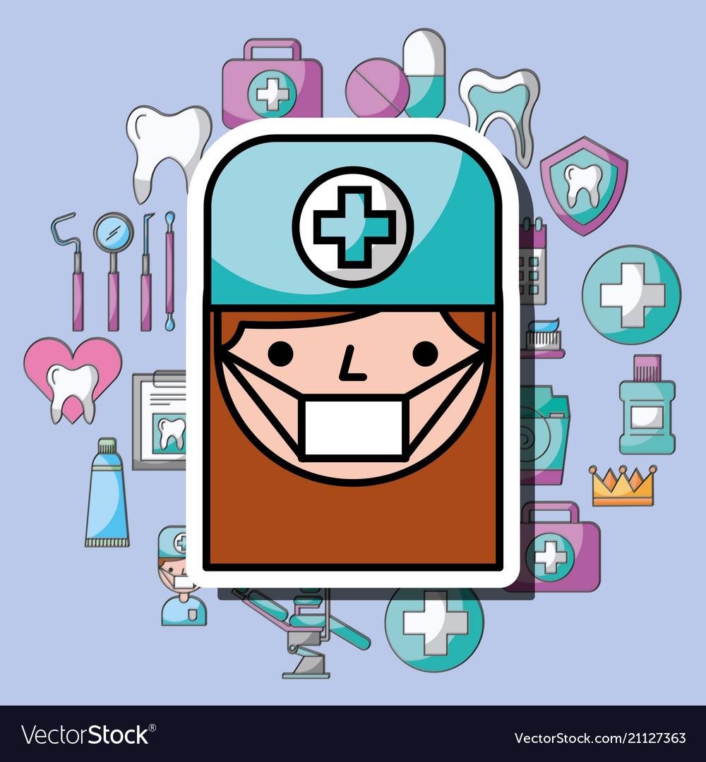 Dentist girl cartoon dental care professional