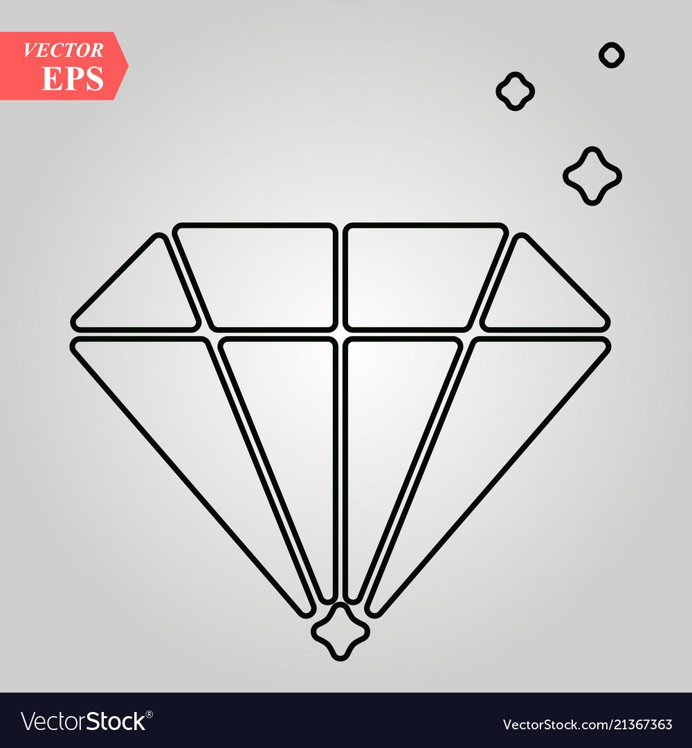 Diamond flat icon single high quality outline