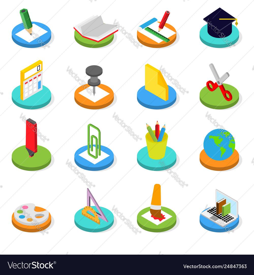 Education isometric icon set 3d symbols