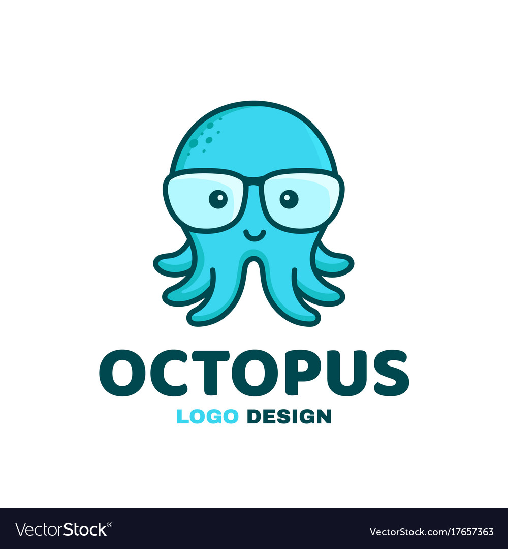 64eb54851a23 Fun little cute smiling happy octopus in glasses Vector Image