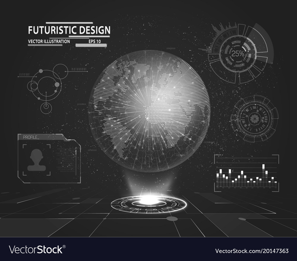 Futuristic interface with planet hologram