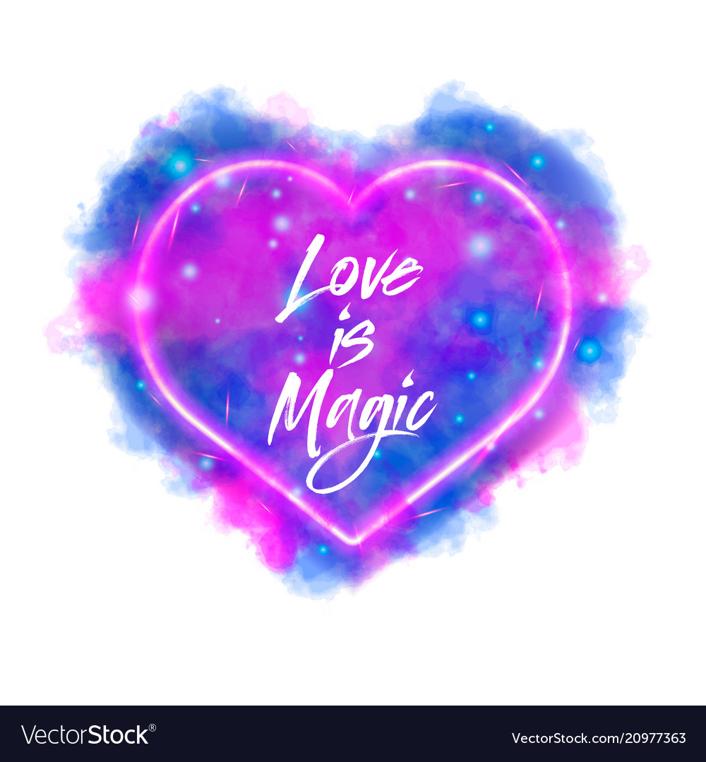 Love is magic watercolor magic flaming heart