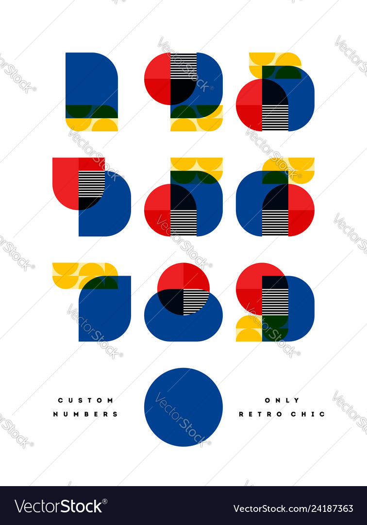 Poster with font of numbers in bauhaus style