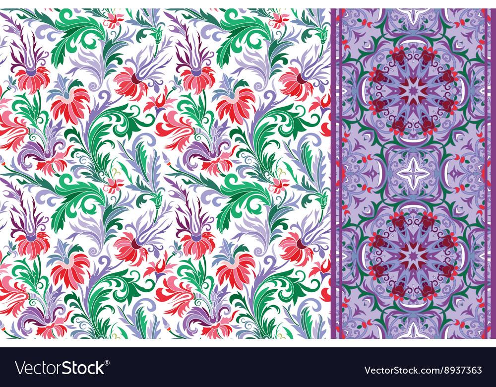 Seamless floral patterns set Vintage flowers