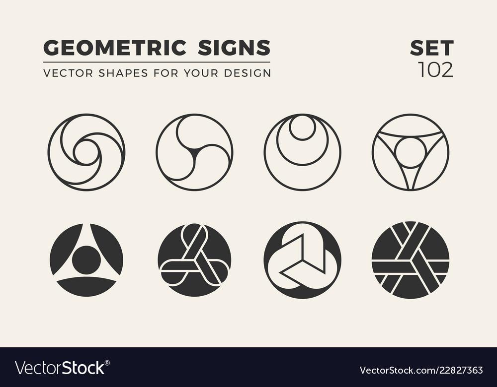 Set of eight minimalistic trendy shapes stylish