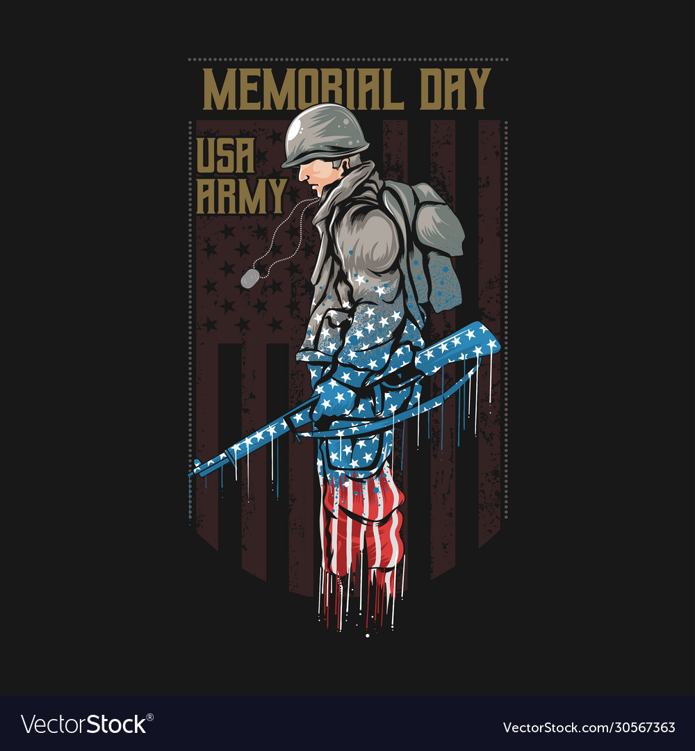 Us army memorial day with america flag
