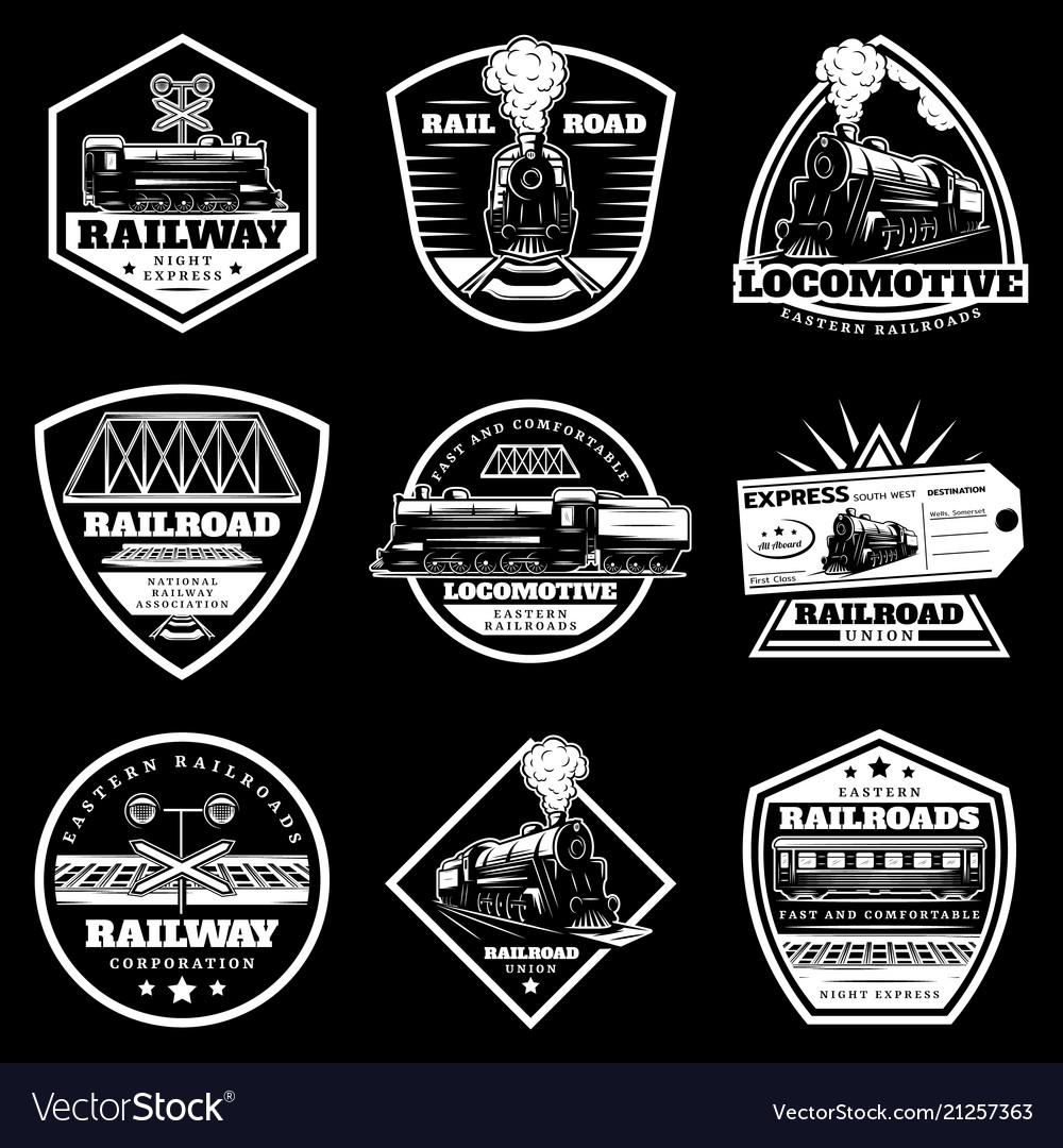 Vintage white locomotive train labels set