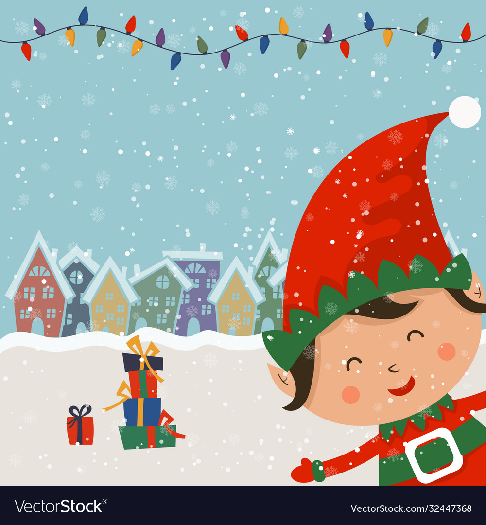 Cartoon for holiday theme with elf on winter