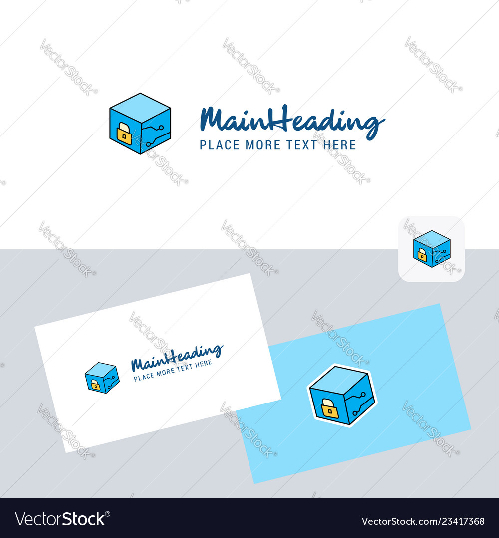 Cube logotype with business card template elegant