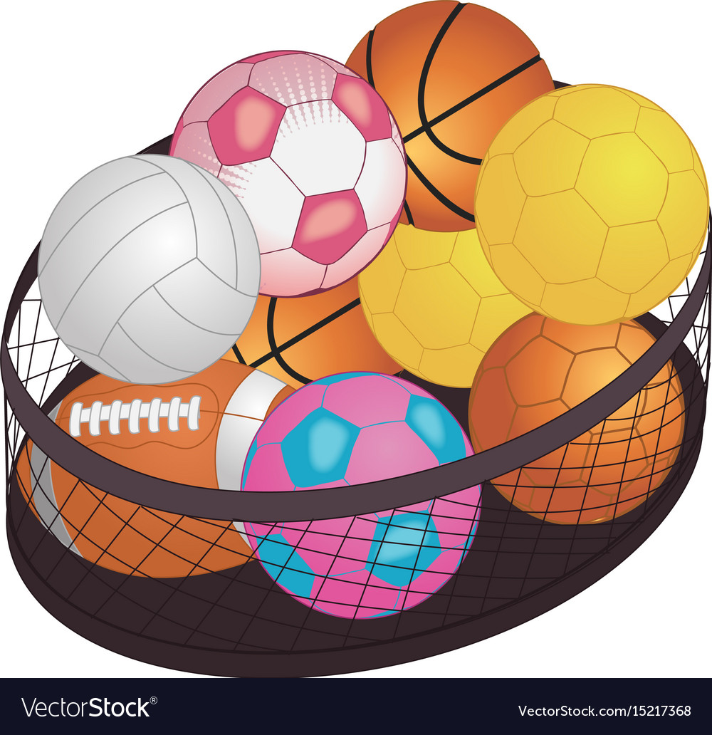 Different game balls in the big basket isolated