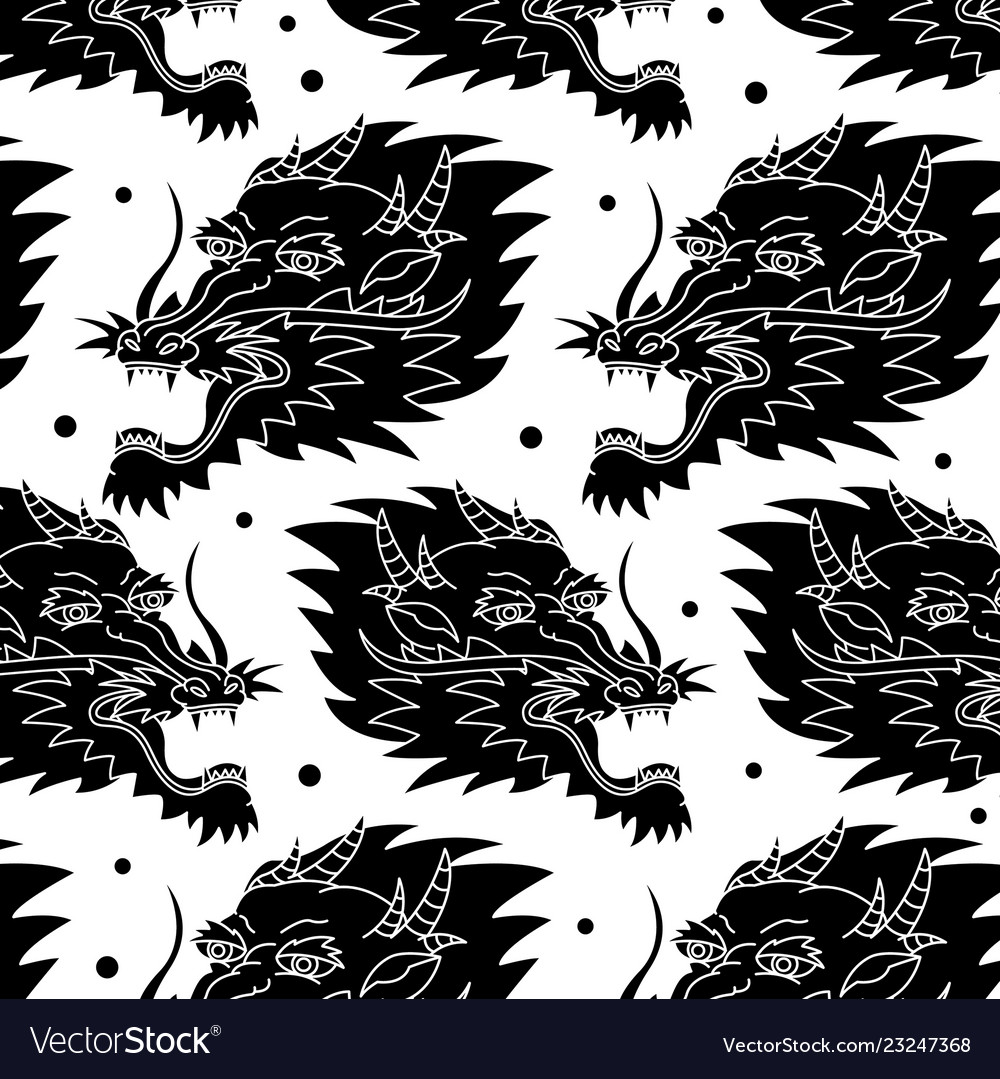 Dragon traditional tattoo pattern vector