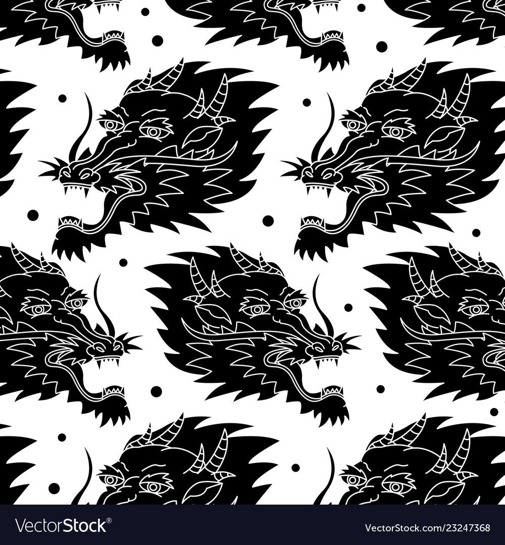 Dragon traditional tattoo pattern