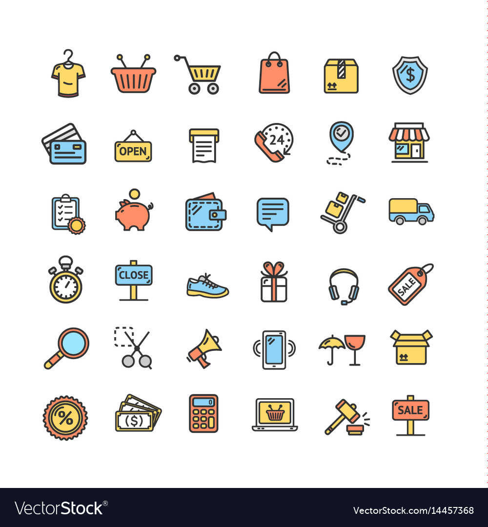 Ecommerce icon color thin line set vector image