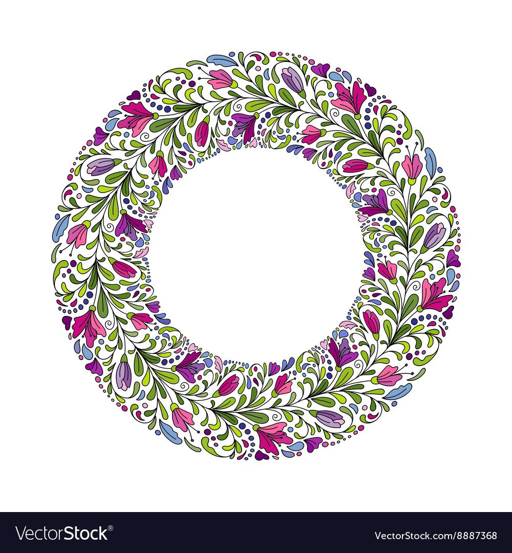 Floral Wreath Card Boho design with doodle vector image