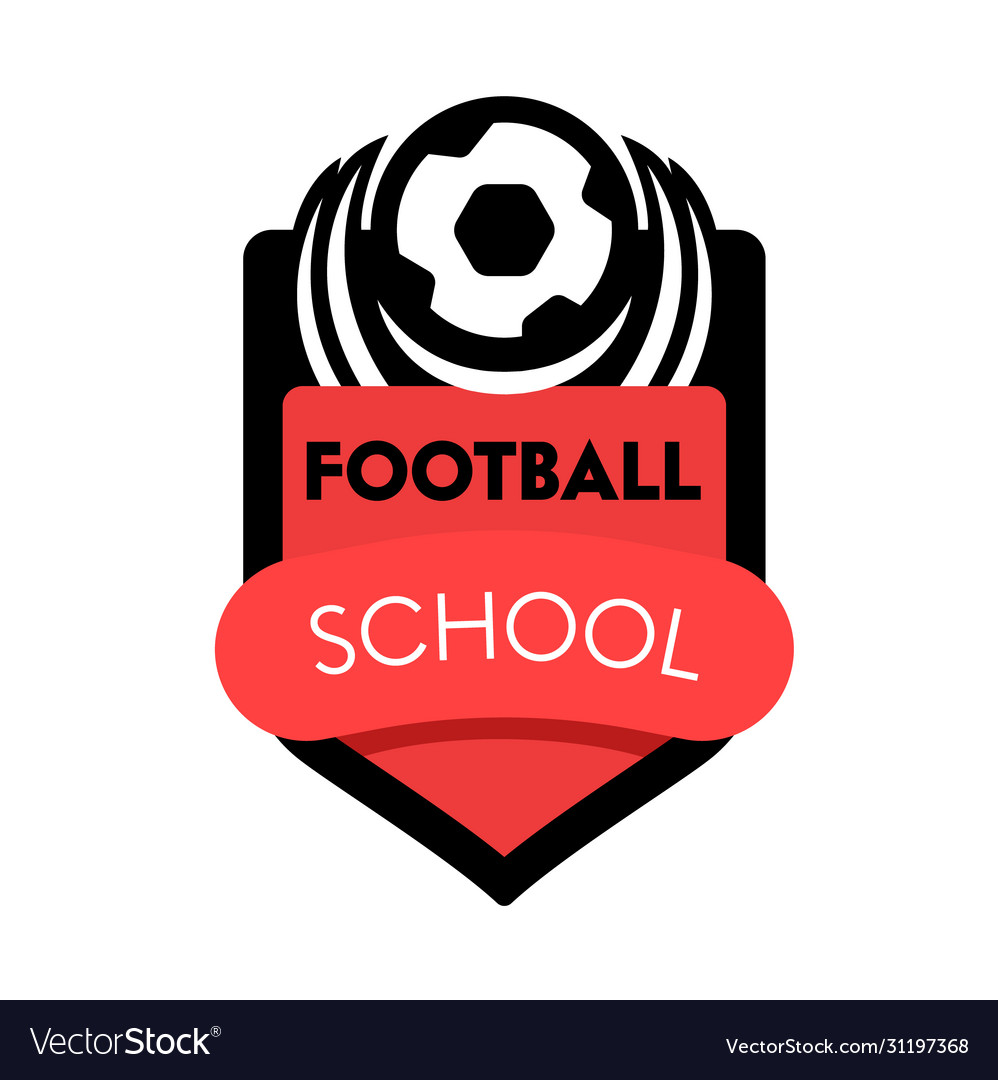 Football school banner creative badge with soccer