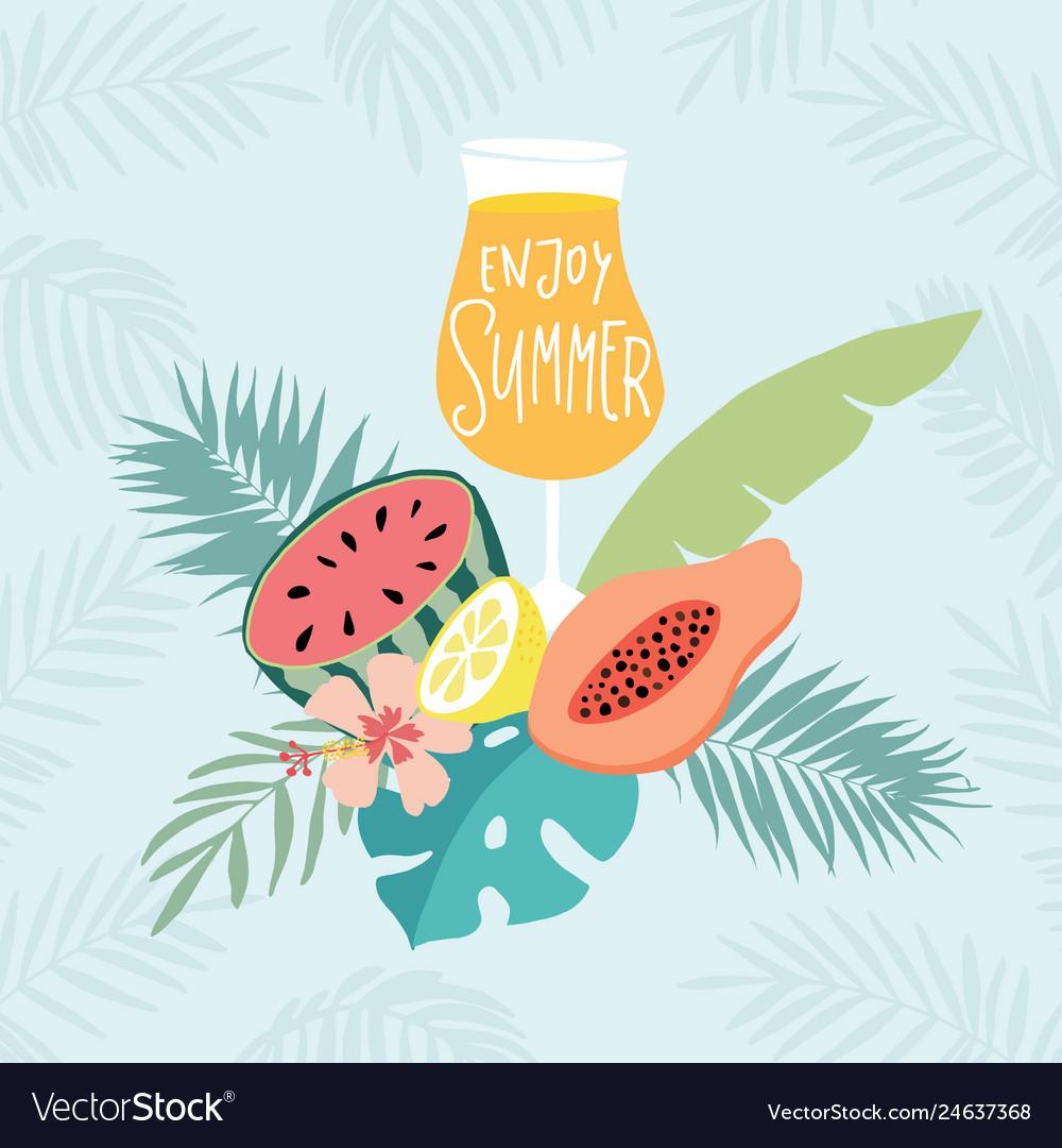 Hand drawn enjoy summer party greeting card