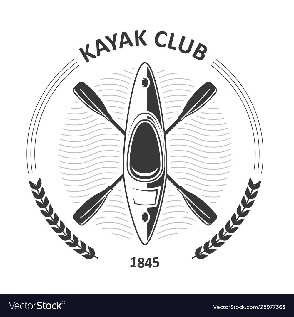 Kayaking club emblems - canoe and two crossed