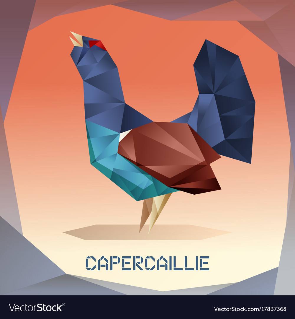 Origami mosaic capercaillie