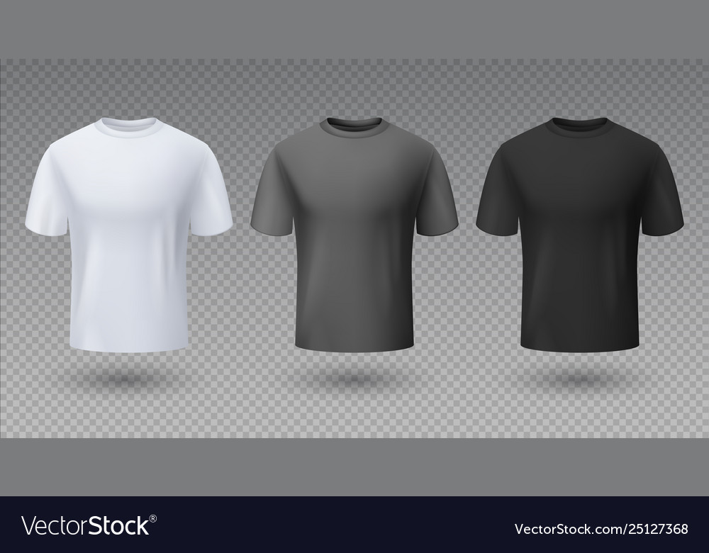 b837c318a Realistic male shirt white black and gray t-shirt