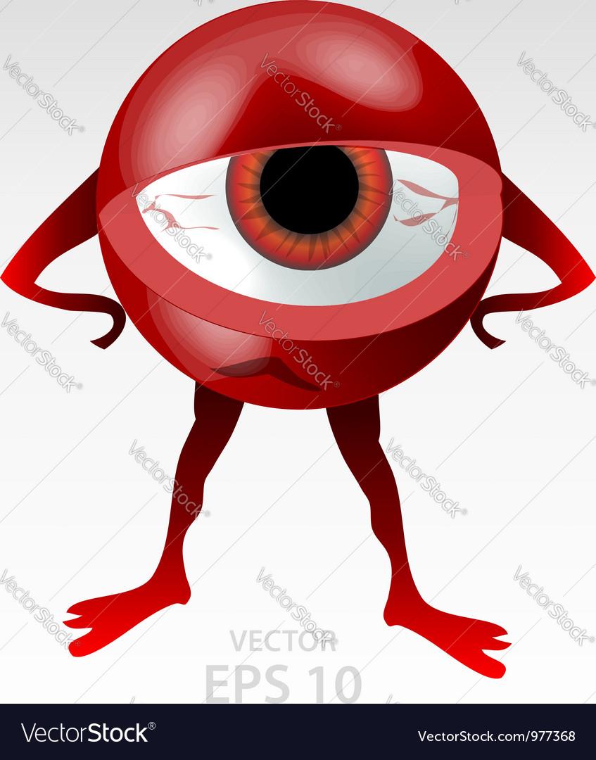 Red angry eyeball mascot