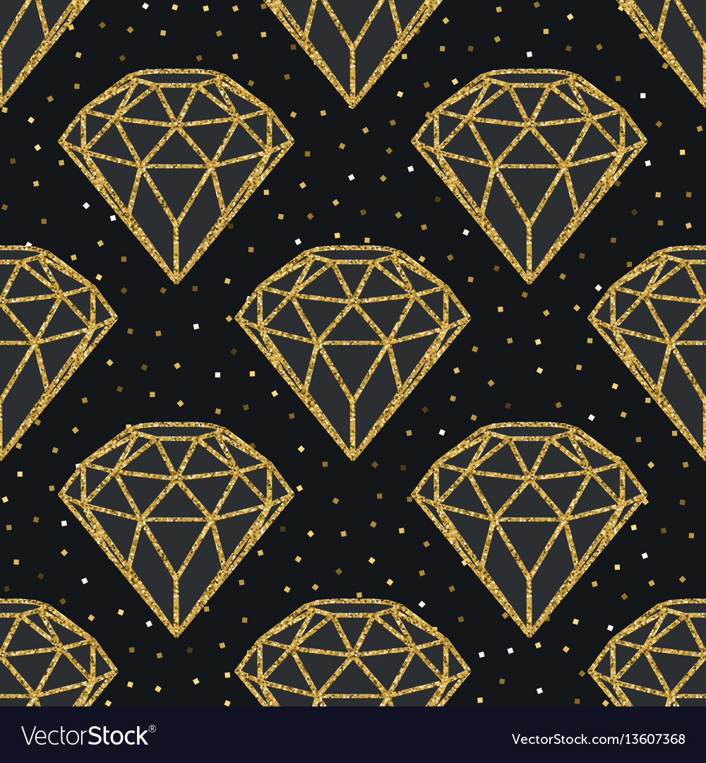 Seamless pattern of geometric golden foil diamonds