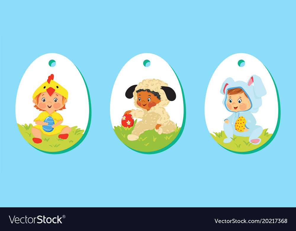 Set of easter price tags gift labels for kids