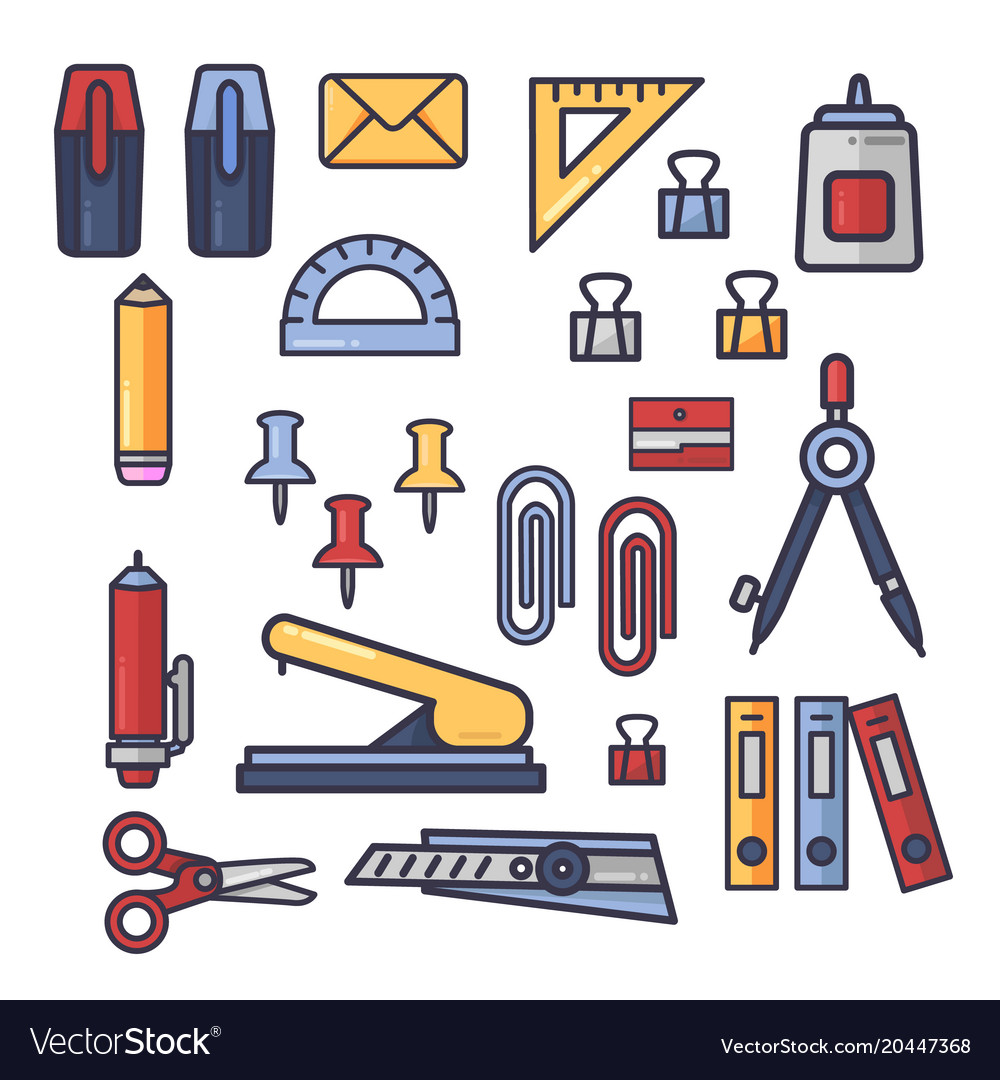 Set of office accessories icons school