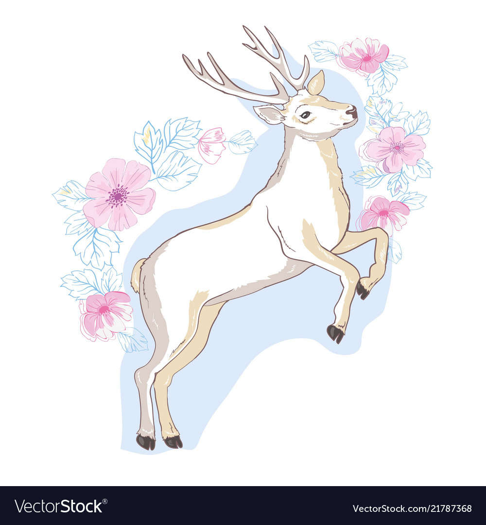 Watercolor isolated deer big antlers flowers and