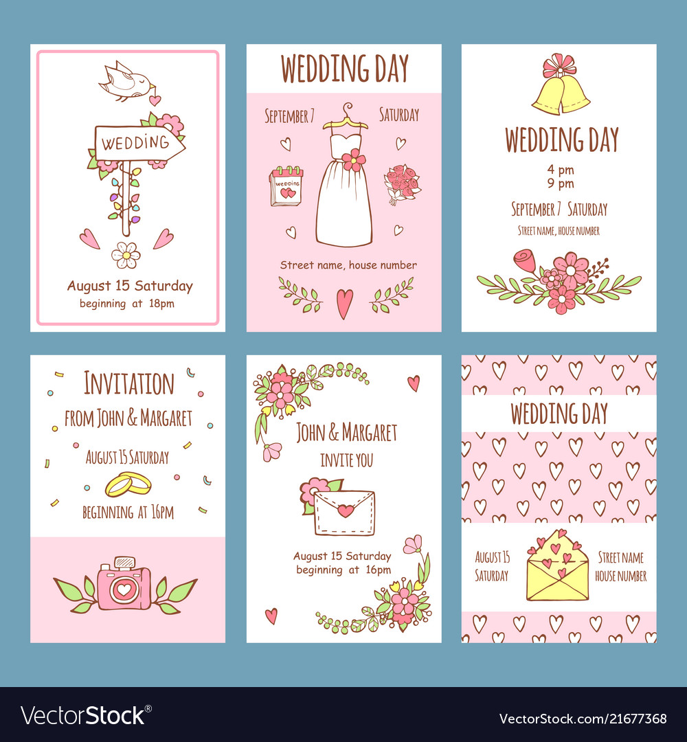 Wedding day invitations various cards for wedding
