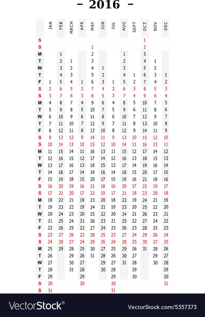 calendar 2016 vertical row royalty free vector image