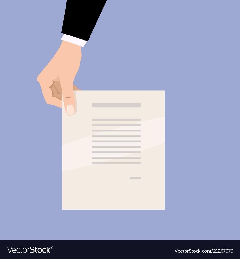 Cartoon businessman hand holding empty blank paper
