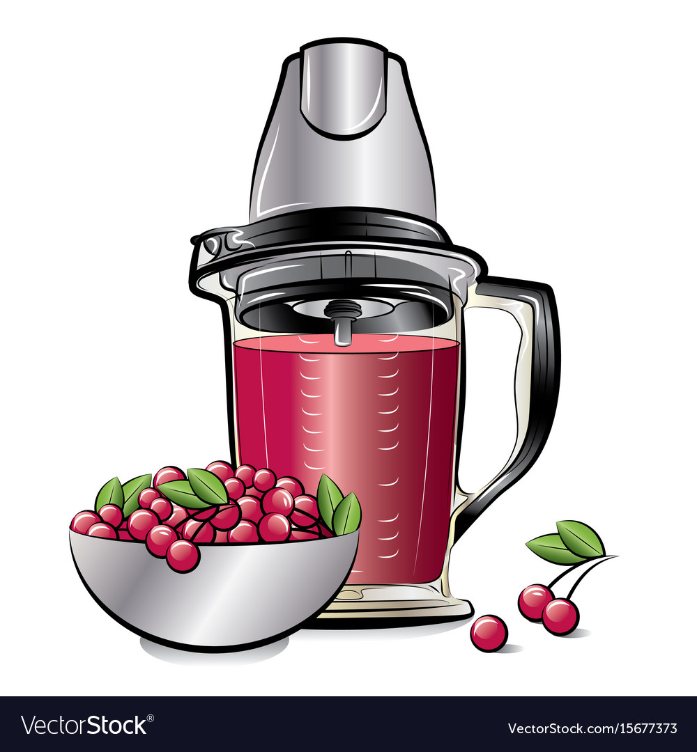 Drawing color kitchen blender with cherry juice