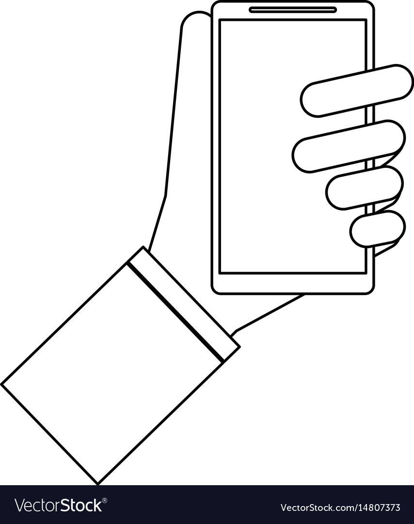 Hand holding cellphone icon image vector image