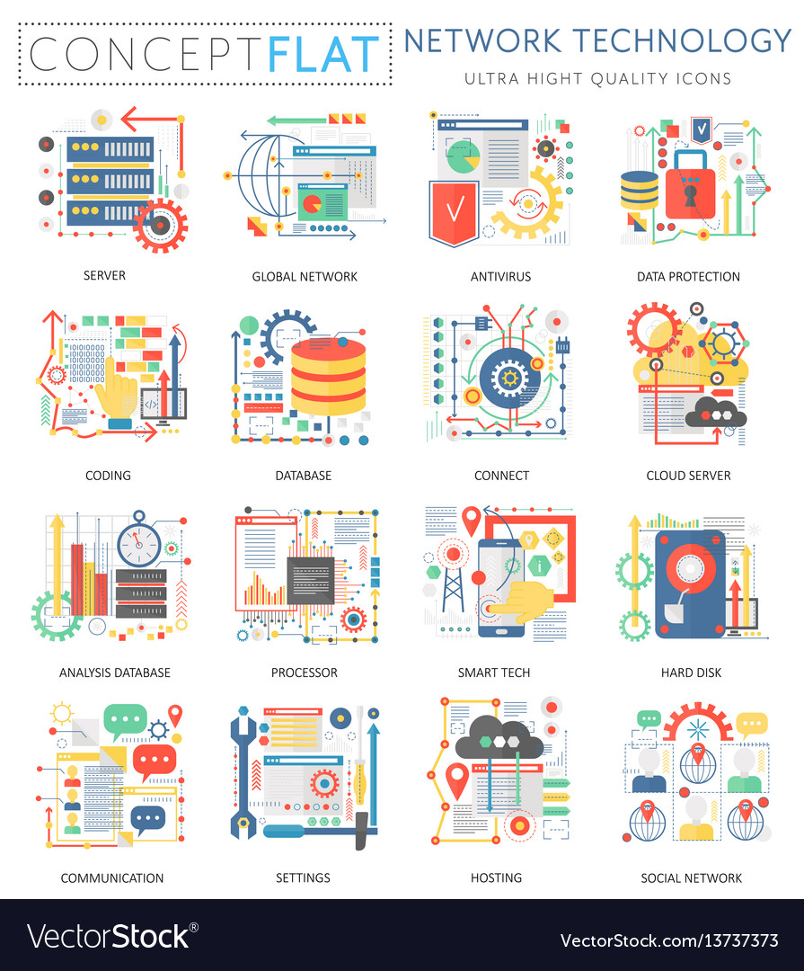 Infographics mini concept network technology icons