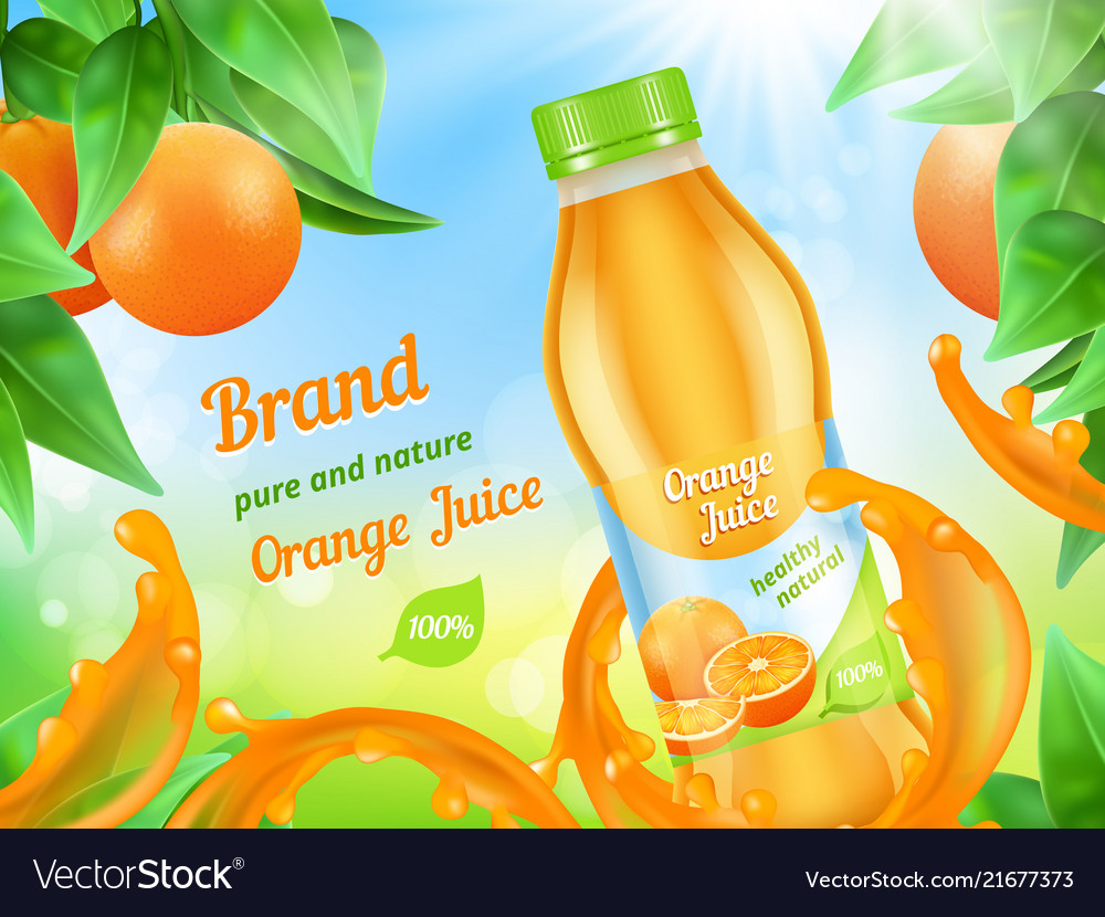 Juice advertizing poster realistic