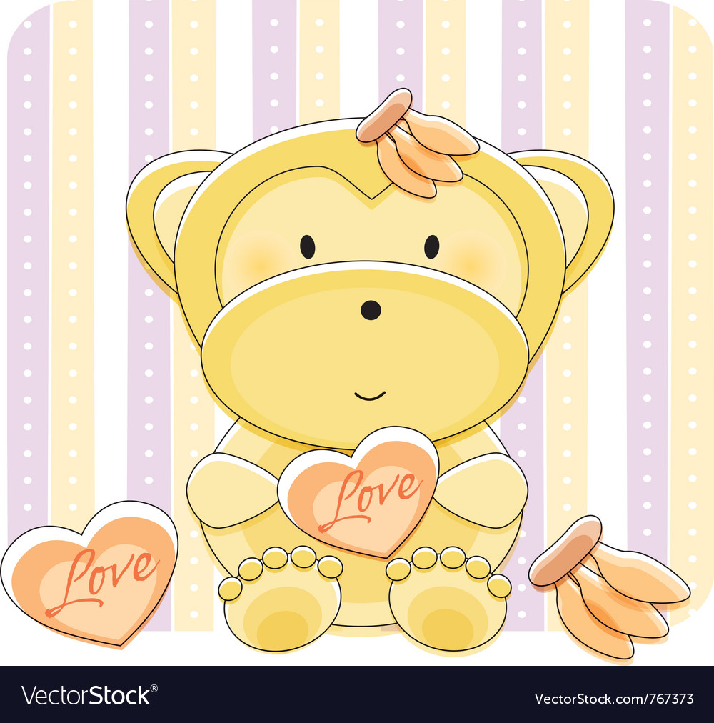Monkey Love Cartoon Royalty Free Vector Image - Vectorstock-2149