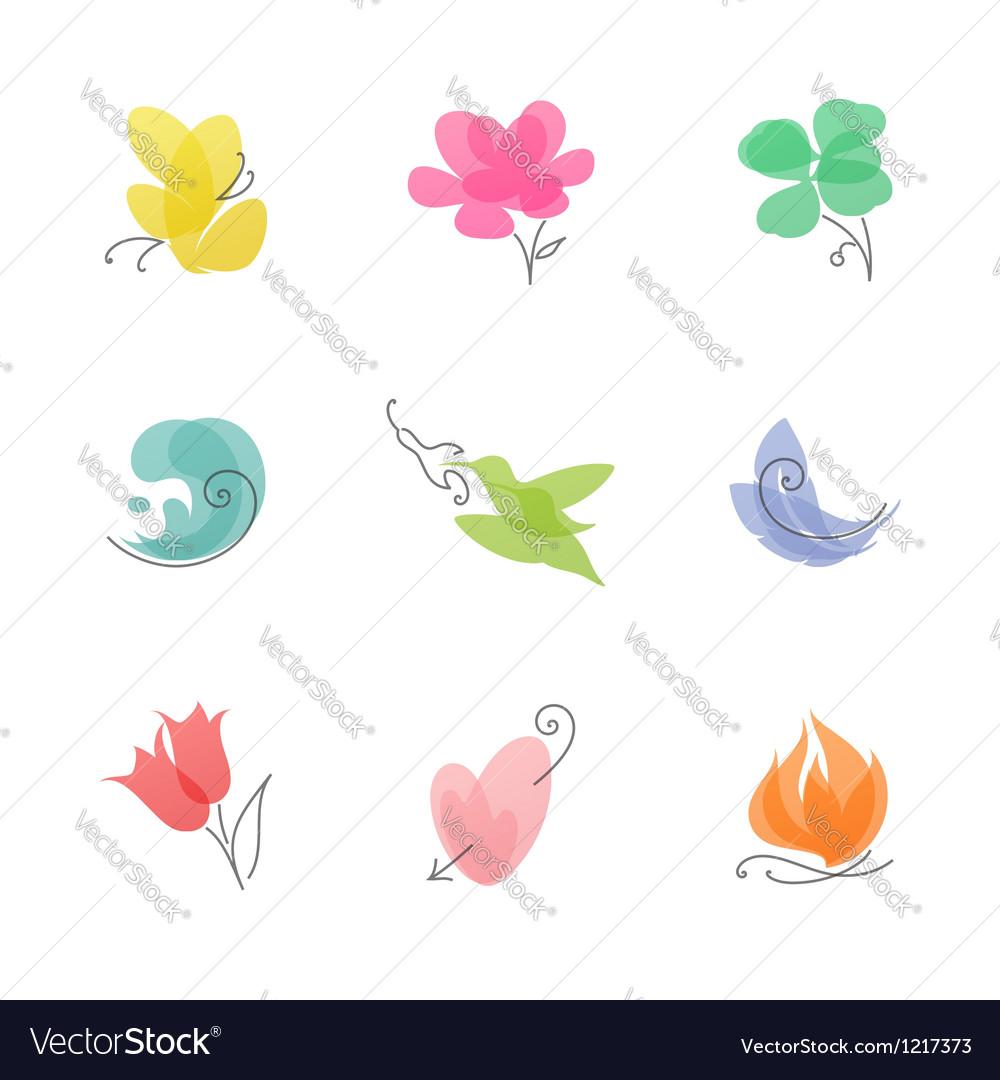 Multicolored nature set of elegant design elements