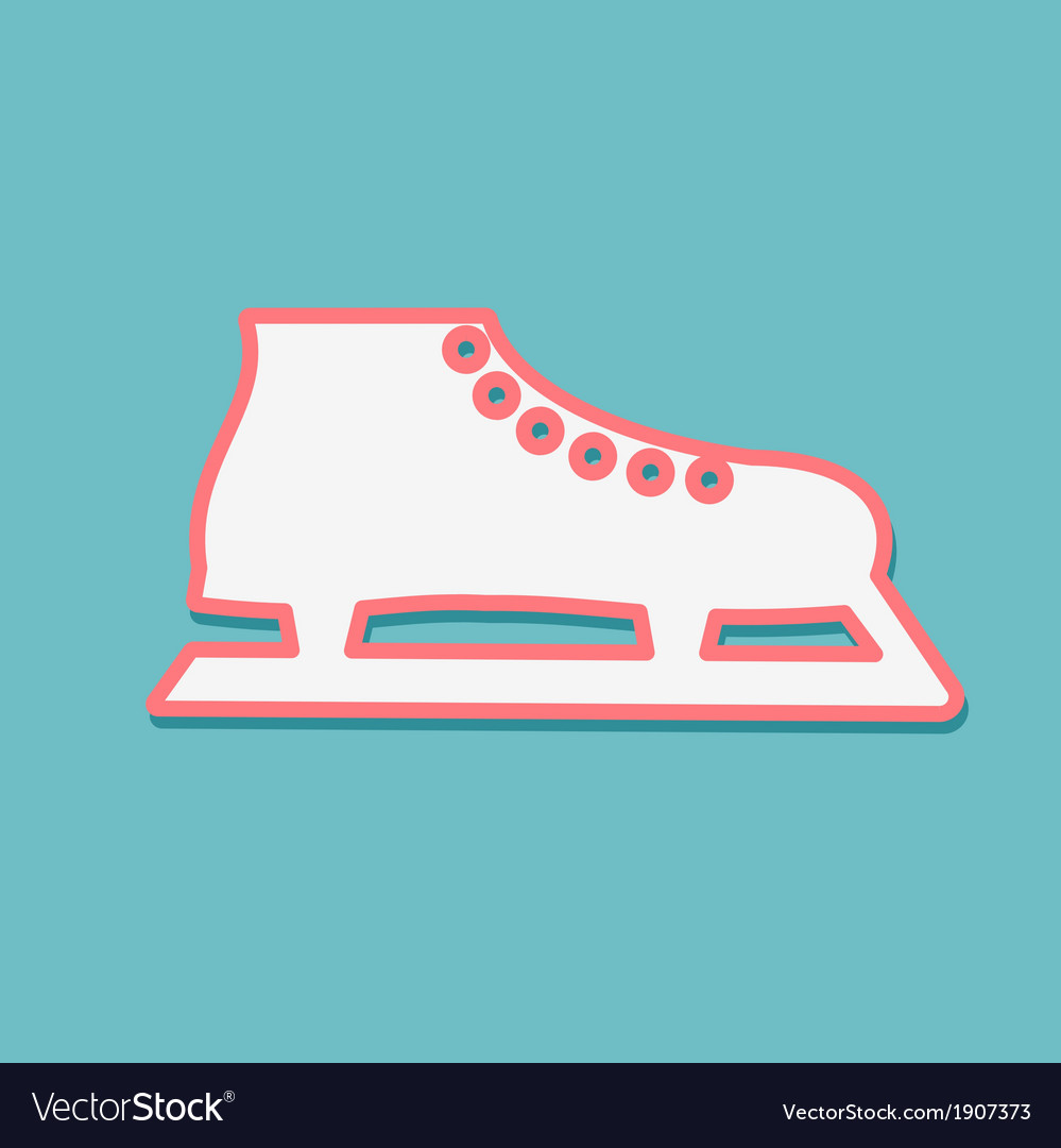 One white skate on a blue background vector image
