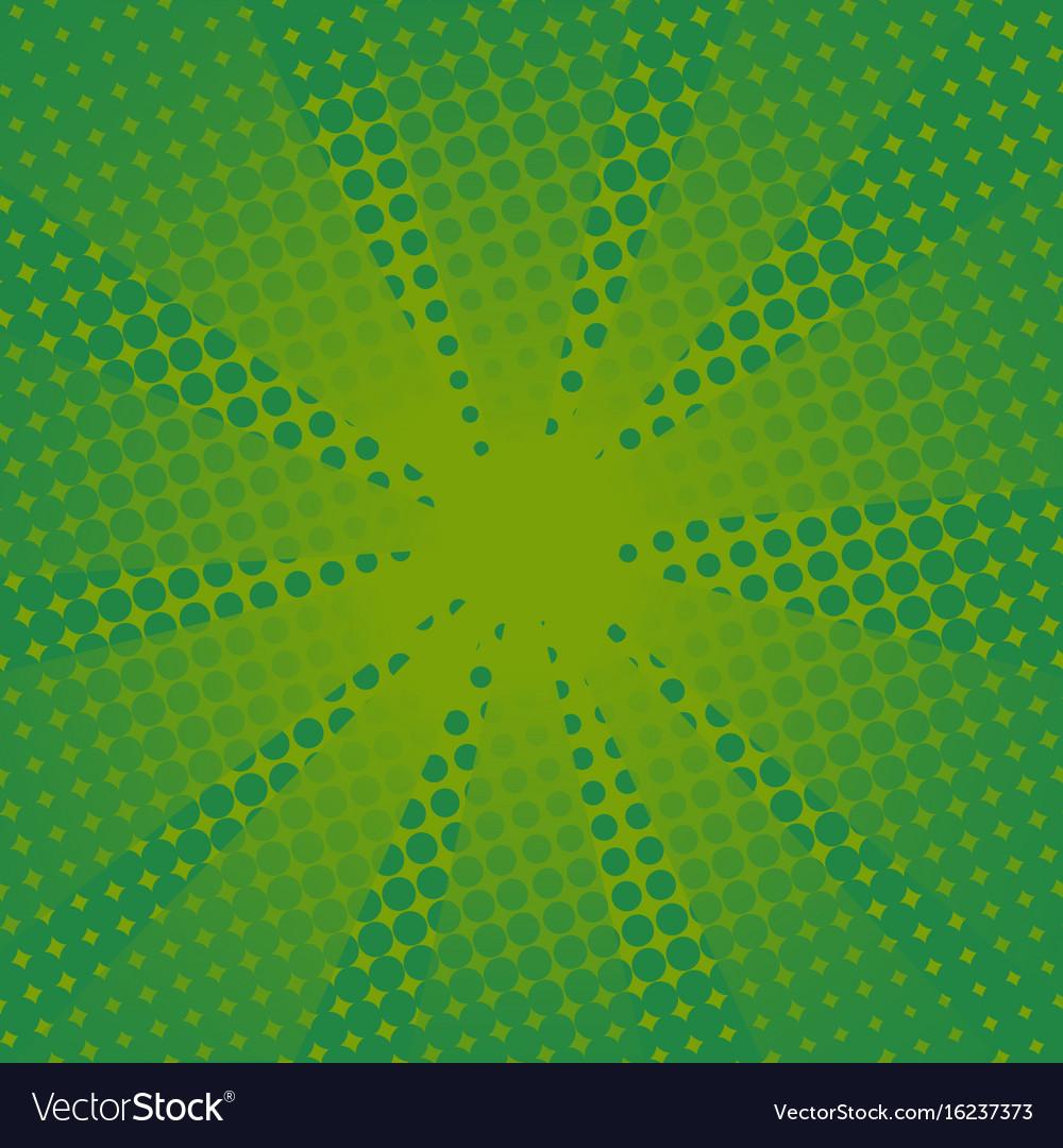 Retro rays comic green background