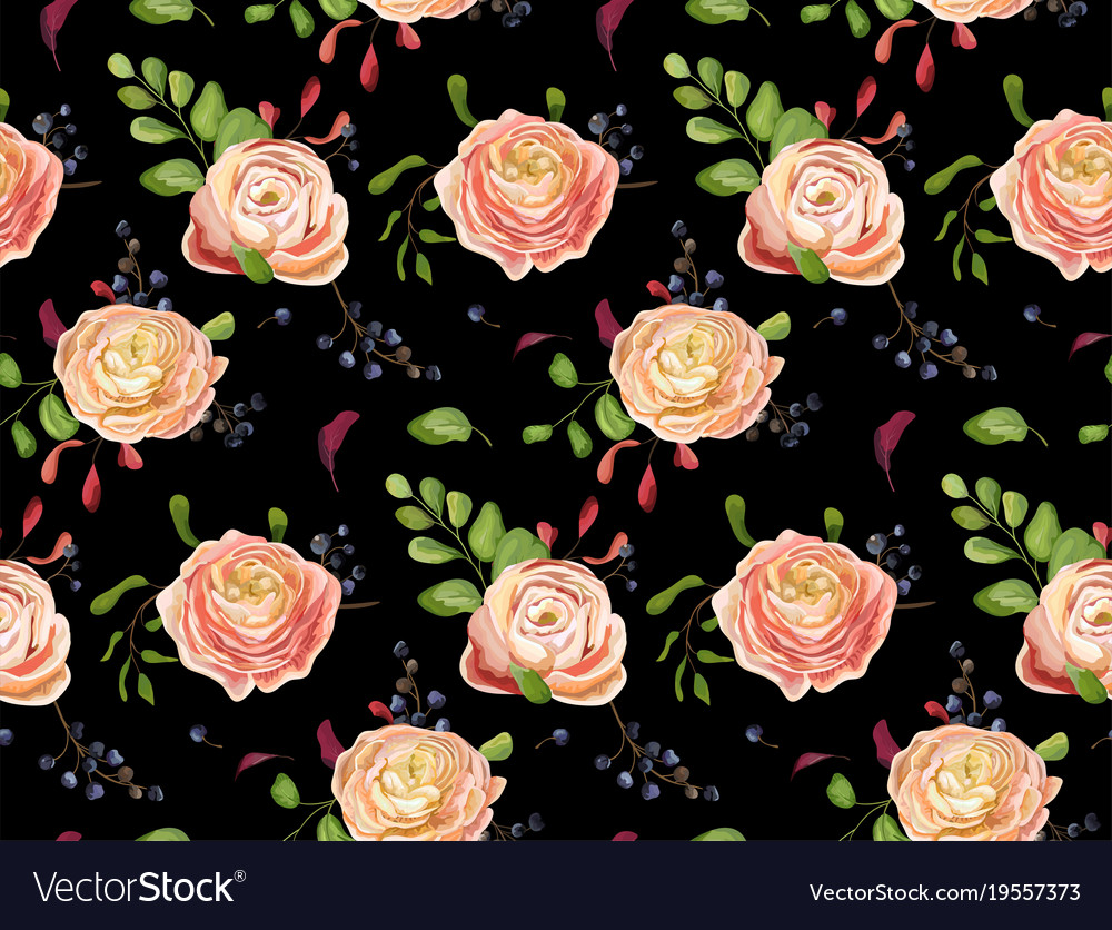 Seamless floral pattern of pink rose ranunculus